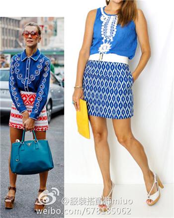 右边街拍范儿穿的是蓝色+红白色印花半裙