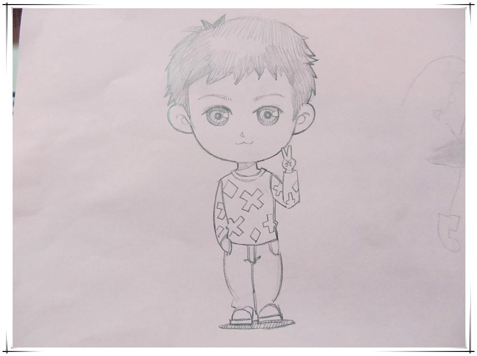 男童卡通自画像