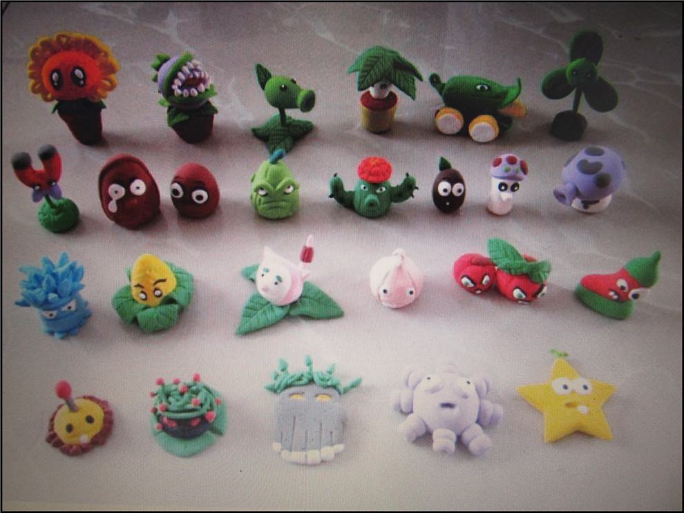 儿童创意绘画课之轻泥作品植物大战僵尸