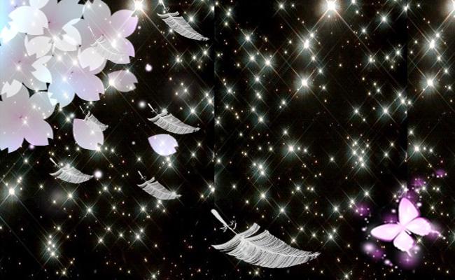 利用黑色背景做出来的星空羽毛蝴蝶樱花图