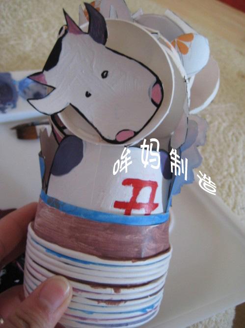 手工制作纸杯动物 牛