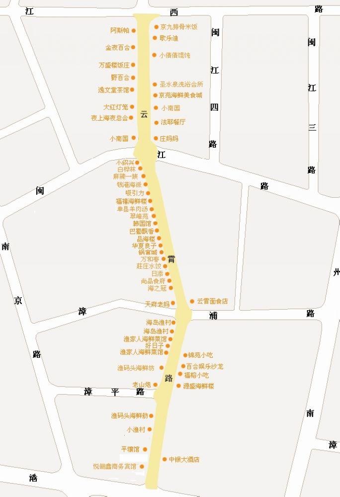 人们常说的云霄路中苑美食街,闽江路美食街,云霄路美食街等,都是指这