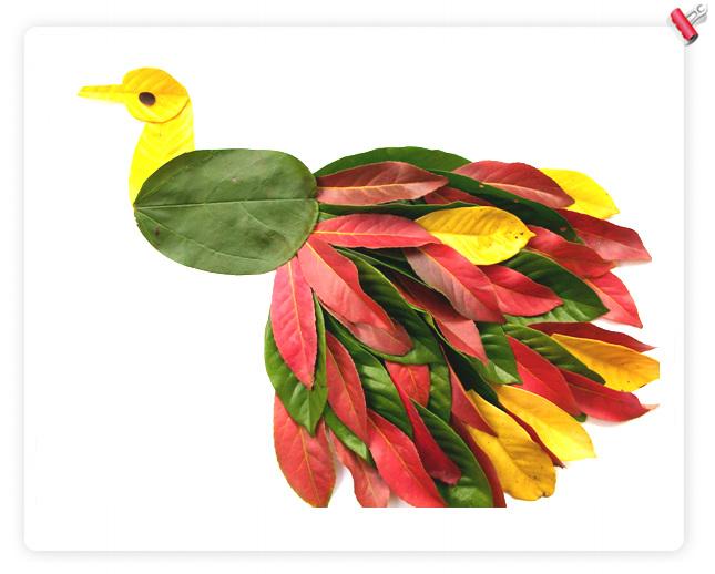 幼儿中班 手工树叶贴画 图片欣赏   树叶剪纸 贴画 _巧手