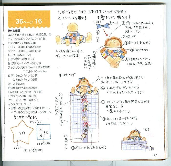 可爱娃娃挂式纸巾盒,有图纸,做法